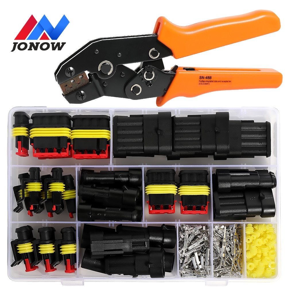 hzy 2 5sets kit 2 pin 1 2 3 4 5 6 pins way amp super seal waterproof electrical wire connector plug for car waterproof connector 254/622PCS Electrical Wire Connector Plug Car Plug Waterproof Connector 1/2/3/4 Pin Automotive Plug Terminals SN48 Crimping Kit