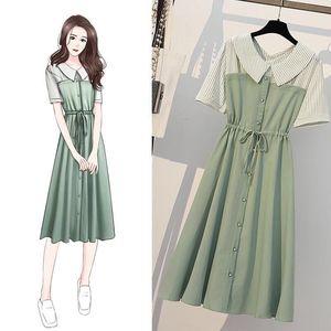 Large size Womens Clothing A-line Dress 2021 Summer Women Stripe Shirt Dresses Fashion Slim Short Sleeve Dress High waist Dress