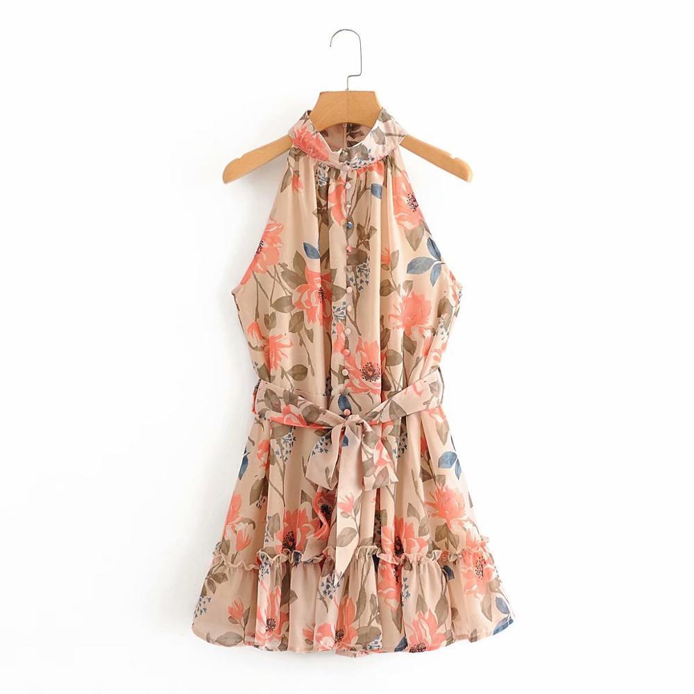 New 2020 women sleeveless flower print hem ruffles mini dress female stand collar bow sashes vestidos chic casual dresses DS3895