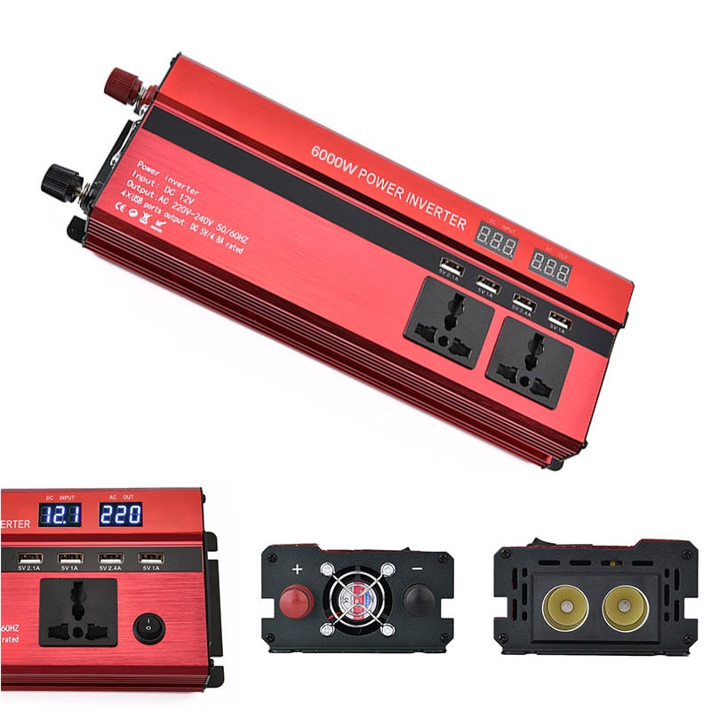 Inversor de corriente para caravana 220V 6000W, convertidor inversor para coche, convertidor para coche, inversor de potencia, adaptador de cargador, pantalla LED