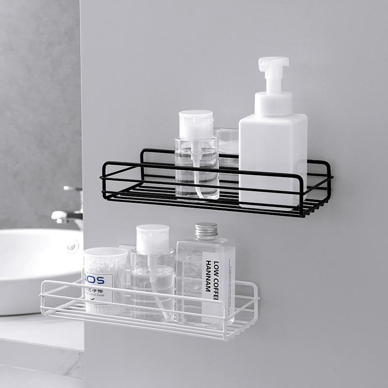 Shower Shelf Shampoo Tray Shelf Shower Rack Single-layer Stainless Steel Bathroom Shelf Storage Perforated Bathroom Accessories