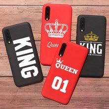 Citas king Queen 01 Rojo Negro pareja teléfono caso para Samsung A50 A70 S10 plus S20 plus S9 Plus S8 Plus suave TPU cubierta de silicona