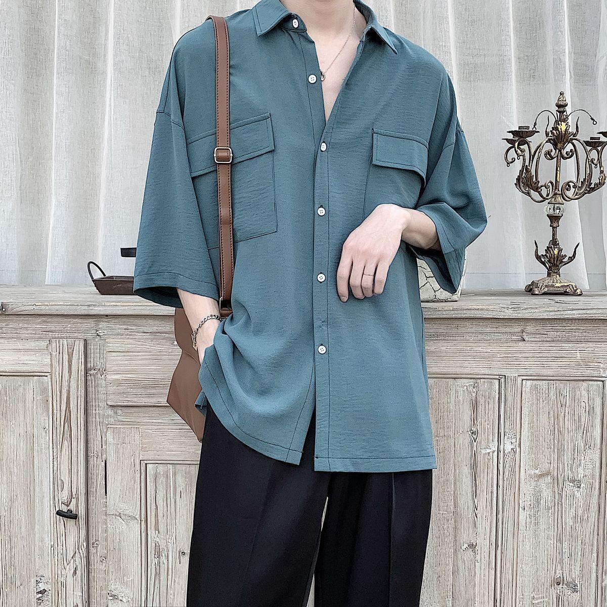 2020 Men's 7-point Sleeve Streetwear Suit Collar Hawaiian Shirt French Cuff Mens Fashion Social Shirts Camisa Masculina M-2XL