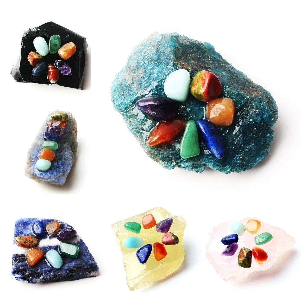 1PC Natural Crystal Rockstone put 7 Chakra Gravel Mini Colorful beads Minerals Specimen Reiki Healing Decor Gift