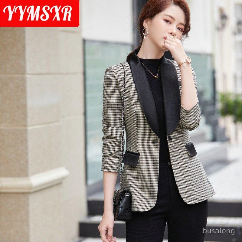 Женский пиджак большого размера, осень и зима, повседневный женский офисный костюм с длинным рукавом, элегантный клетчатый женский Блейзер,...