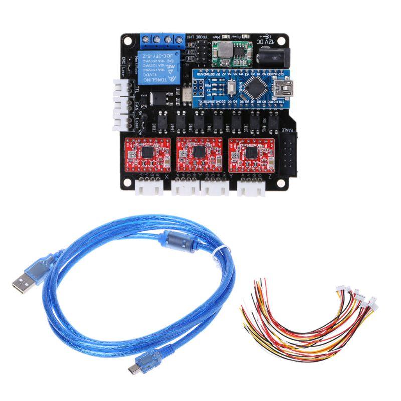 GRBL-لوحة تحكم ليزر CNC USB 3 محاور ، محرك متدرج ، لوحة تحكم