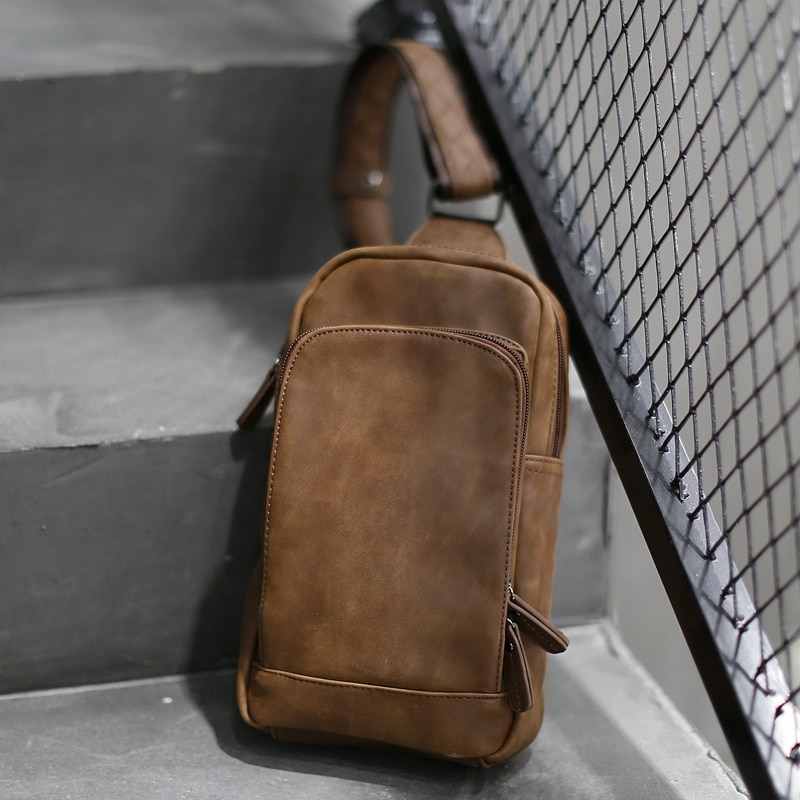 NEW Bag Men Chest Pack Single Shoulder Strap Bag High Quality PU Leather Travel Men Crossbody Bags Vintage Chest Bag