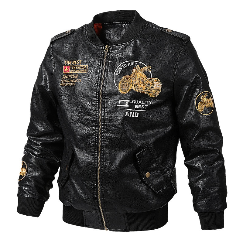 Thoshine Brand Spring Autumn Winter Men Leather Jackets Motorcycle Male Fashion PU Leather Coats Epaulet Embroidery Plus Size