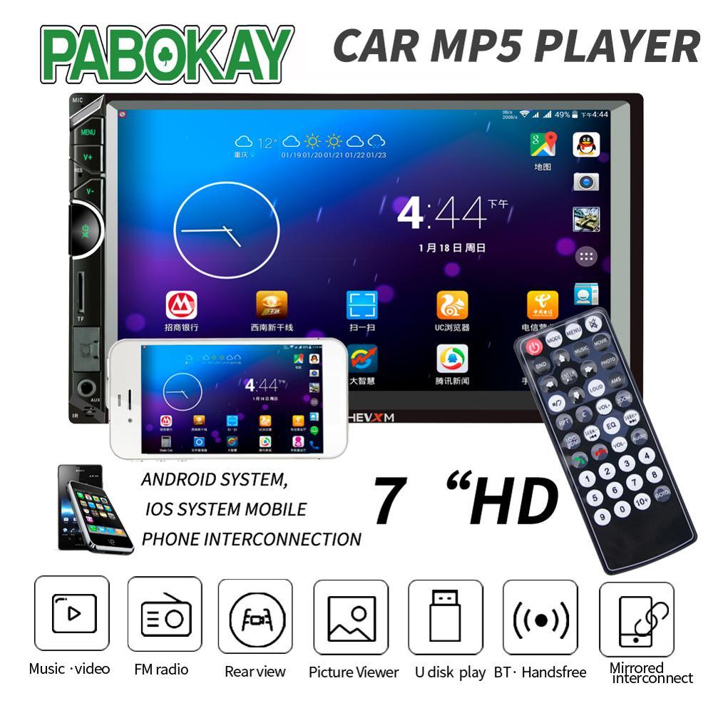 "Auto Multimedia Speler Met Ios/Android Mirror Link Bluetooth Autoradio 2 Din 7 ""Touch Screen MP5 Speler Tf usb Auto Radio"