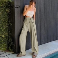 miojiotaxx 2021 europe and the united states summer new green loose straight high waist commuting leisure fashion wide leg pants