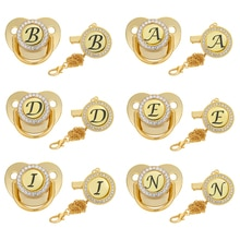 Black 26 Letter Baby Pacifier BPA Free Initial English Letters Name Silicone Infant Nipple Newborn Dummy Soother with Clips Gold