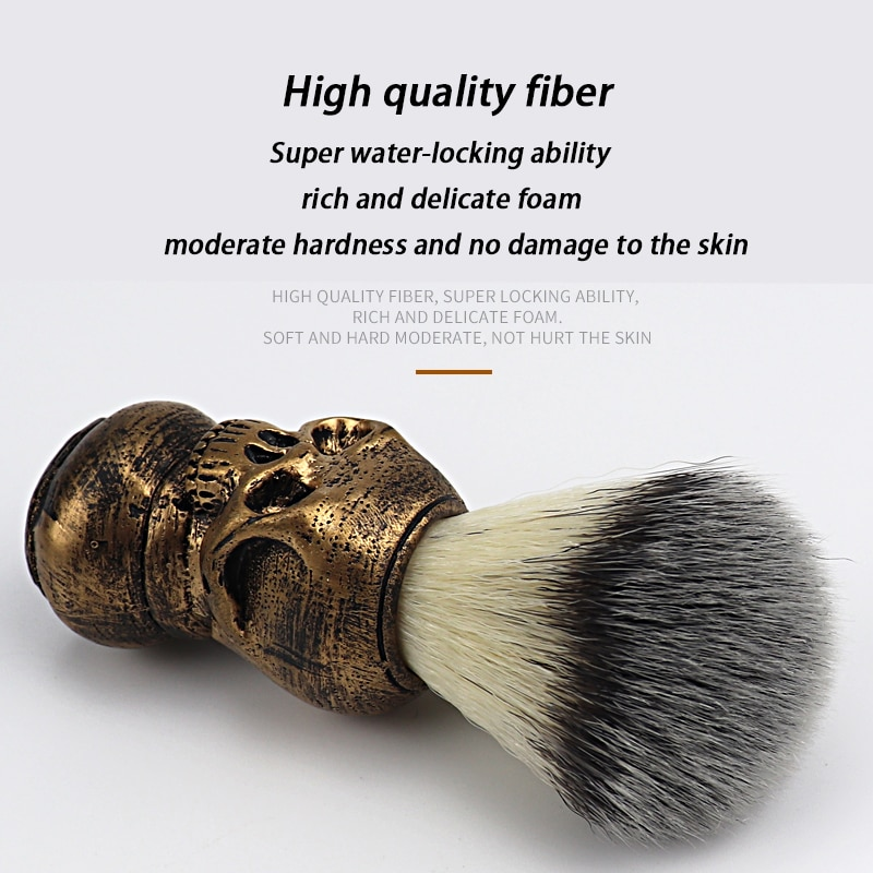 Barber shop fashionable high-end skull design beard brush men's facial cleaning tool barber cleansing shaving set beard foaming
