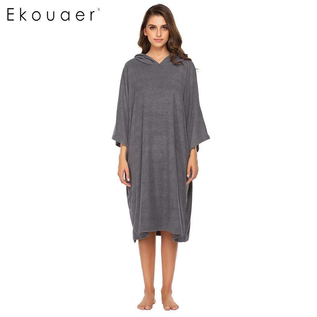 Ekouaer sleepwear feminino roupões com capuz manga longa toalha poncho robe pijamas feminino homewear