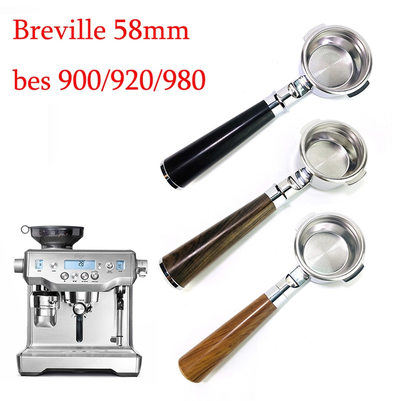 58 مللي متر Bottomless Portafilter ل Breville BES900/920/980 تصفية القهوة الفولاذ المقاوم للصدأ استبدال سلة المرشح مقهى القهوة أداة