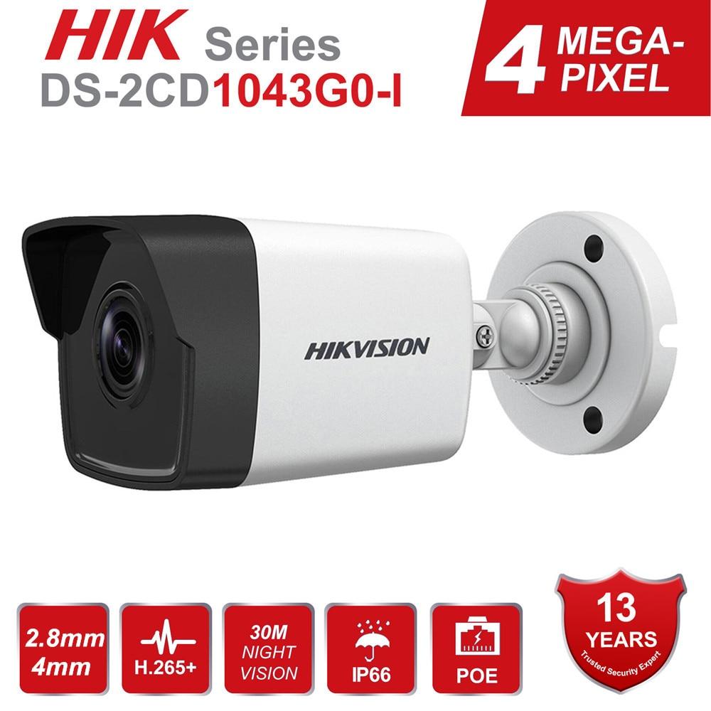 HIK nueva cámara de videovigilancia DS-2CD1043G0-I 4MP IR red Bullet IP Cámara POE H.265 + reemplazar DS-2CD1041-I