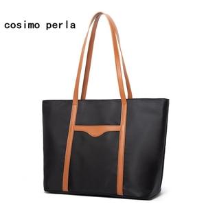 Big Capacity Oxford Cloth Tote Bags for Women 2021 New Fashion Casual Shoulder Bags Classic Work Handbags Waterproof Black Purse