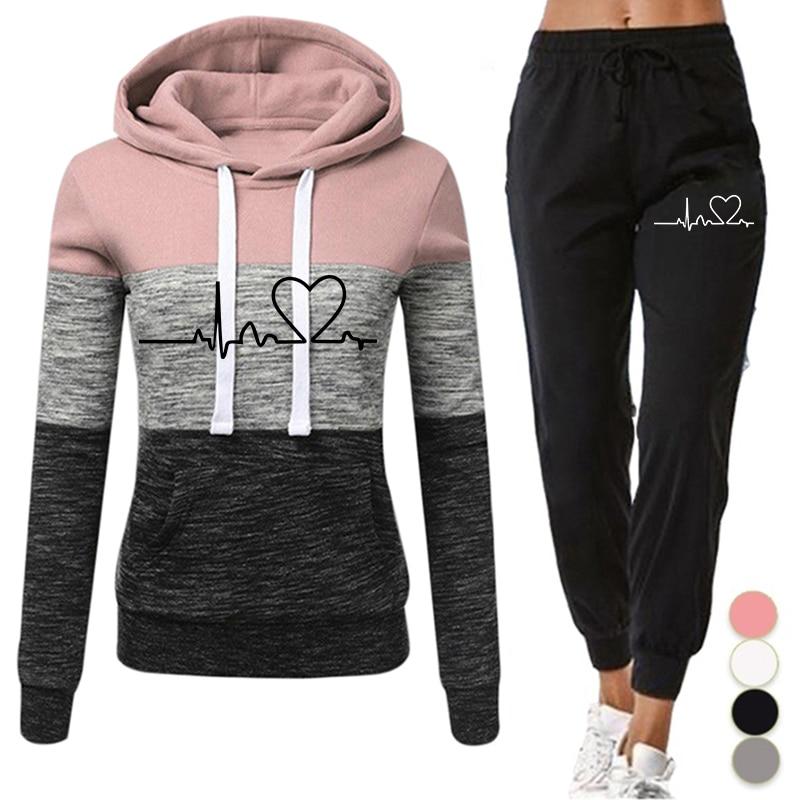 Women Tracksuit 2 Pieces Set Winter Hoodies+Pants Set Patchwork Pullover Sweatshirt Female Sport Suit Outfits for Woman Clothing