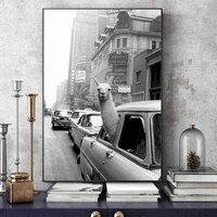modern art alpaca avatar vintage poster and prints funny animal picture home decor wall art canvas painting for living room