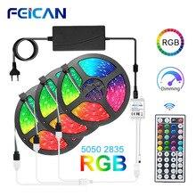 Lumière LED bandes 5050/2835 LED RGB imperméable bande 5M 10M 15M 20M ensemble complet 12V RGB ruban rétro-éclairage néon ruban