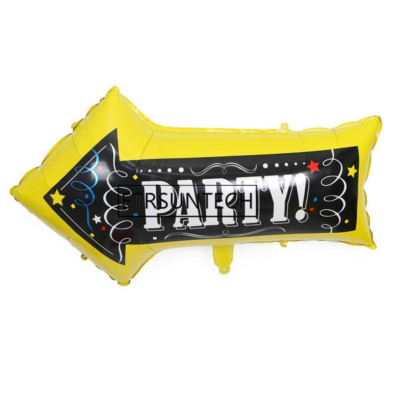 Globos de aluminio con forma de flecha de 82*50cm de 200 Uds., señales de dirección para fiesta, decoraciones para fiesta de cumpleaños