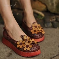 handmade leather slip on women designer loafers wide width hollow out flowers casual loafers sandals khakiarmy greenwine red