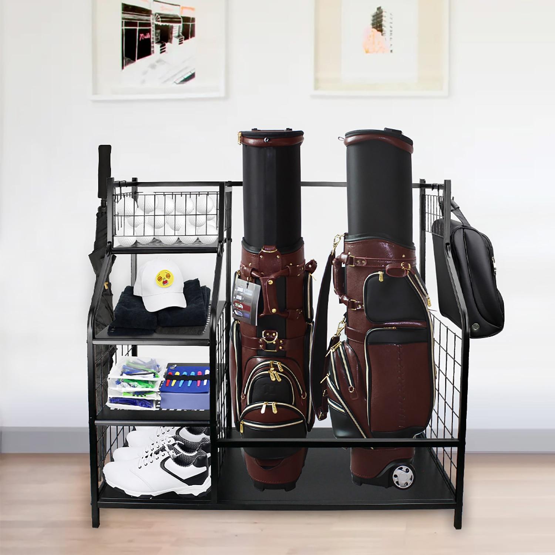 Large Capacity Golf Club Bag Storage Display Shelf Rack Stand Accessories Equipment