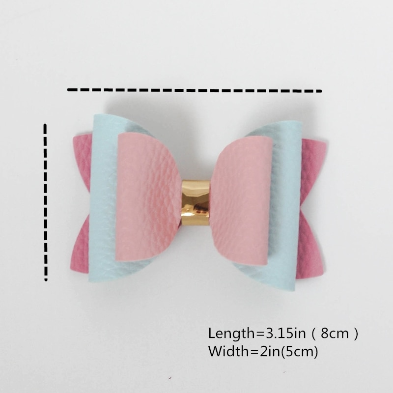 Candy Colourful Lovely Bow Elegant Leather Hairpins Cute Hair Accessories Girls Kids Women Handmade Headwear Side Hair Clip  - buy with discount