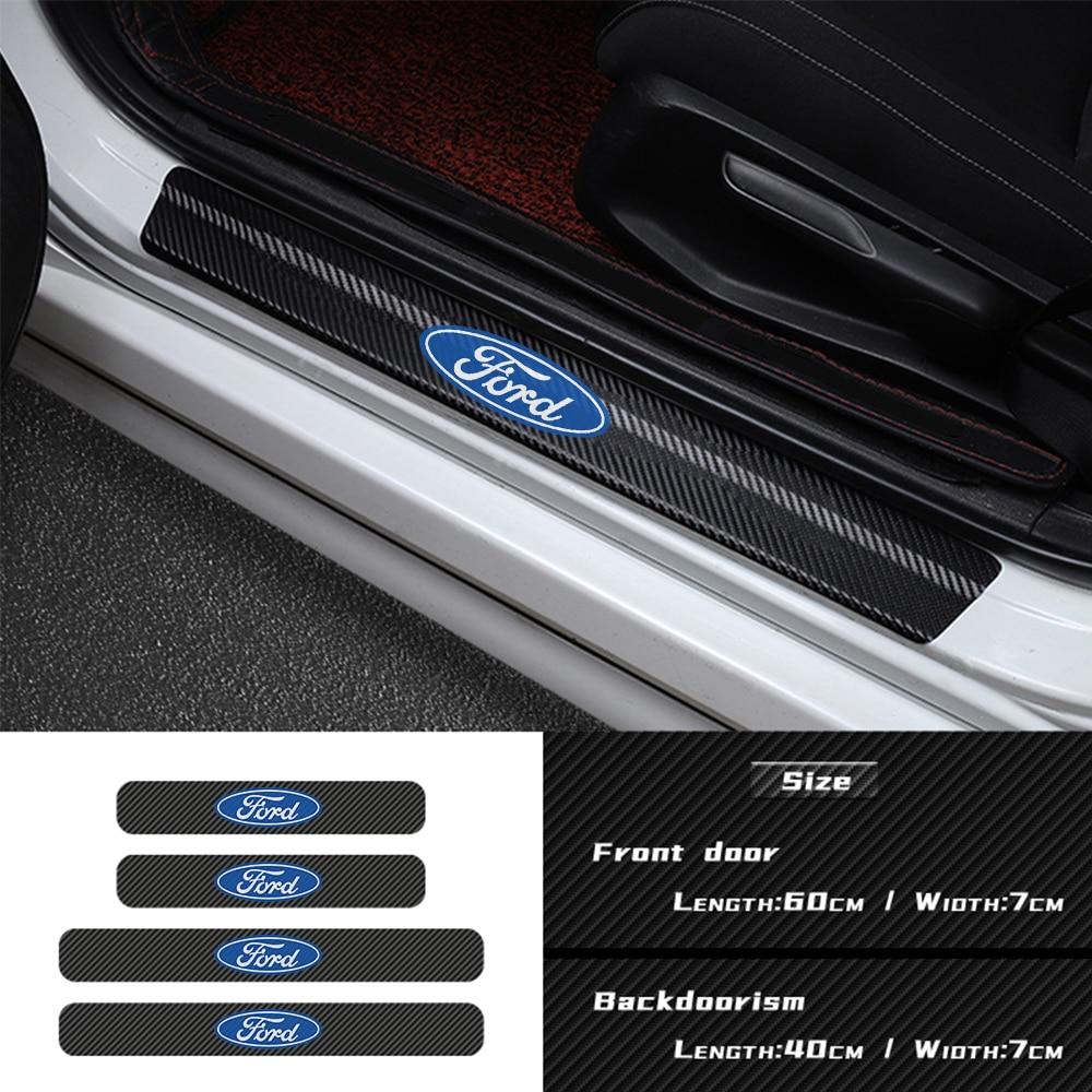 Porta do carro limiar de fibra carbono adesivo peitoril decoração acessórios para ford focus 2 3 4 mondeo fiesta ecosport kuga