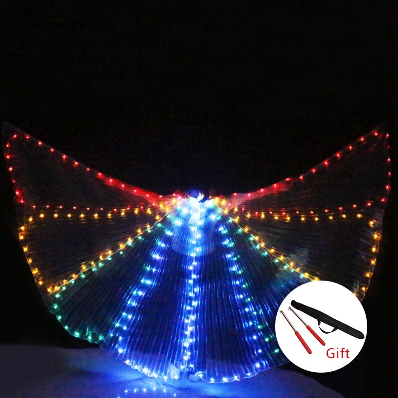 Mariposa colorida danza del vientre traje de actuación Alas de LED accesorios de baile traje de Alas de LED de las niñas alas de mariposa LED
