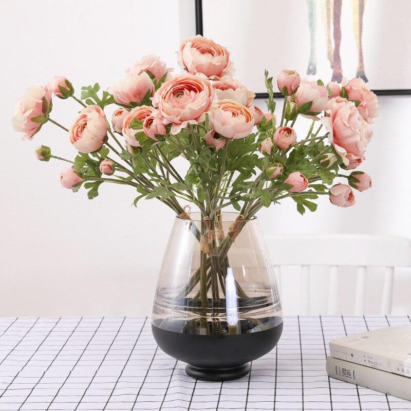 Simulación de rocío lotus mano tie 9 cabeza flocado Camelia Casa de flores artificiales ramo de decoración tiro falso flor prop