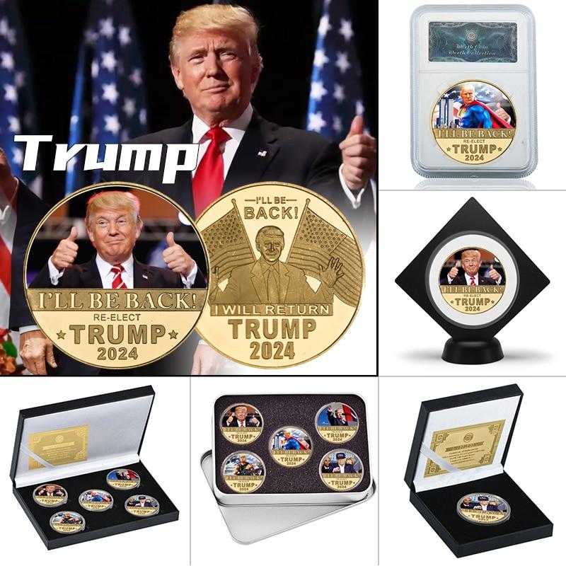 WR 2024 Donald Trump Gold Plated Commemorative Coin Collectibles USA President Original Coin Set Gif