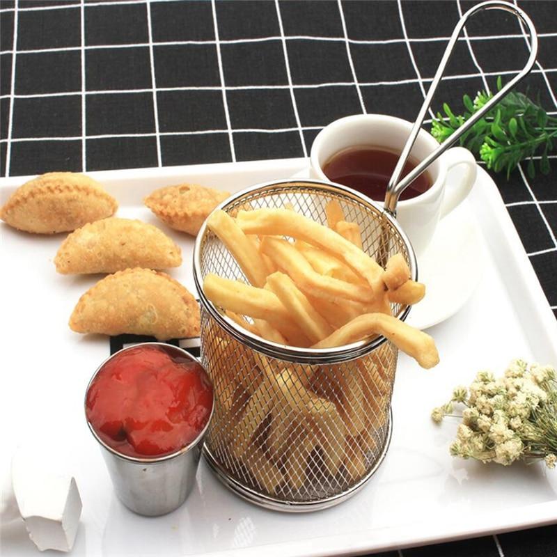 Casa de acero inoxidable patatas fritas de acero inoxidable Mini cesta para servir papas fritas Mini cesta cuadrada para freír comida frita
