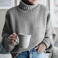 fashion loose half turtleneck knitted pullover sweater high quality winter women basic knitted pullovers pull femme sueter mujer