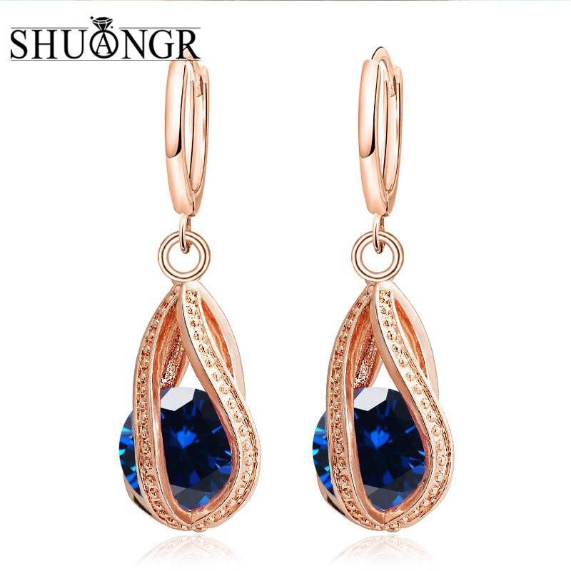SHUANGR-boucle doreille en Zircon pour femmes   Boucles doreilles de mariage en cristal, couleur argent, à la mode, bijoux