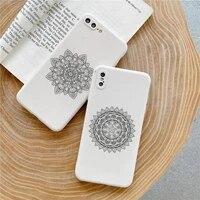 retro art lines mandala flowers phone case candy color for iphone 6 7 8 11 12 s mini pro x xs xr max plus