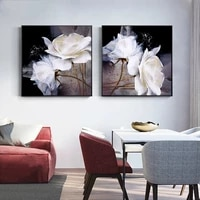 scandinavian white flowers canvas painting camellia wall art retro posters and prints pictures for living room home decoration