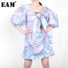 [EAM] 2020 New Spring Summer Round Neck Lantern Sleeve Plaid Printed Bandage Pleated Loose Temperament Dress Women Fashion JU086