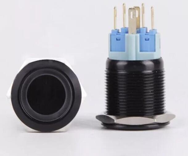 مفتاح معدني أسود لامع ، زر ضغط مع LED 12 فولت/24 فولت ، بدون قفل ، رأس مسطح للوحة القيادة ، 22 مللي متر ، 50 قطعة
