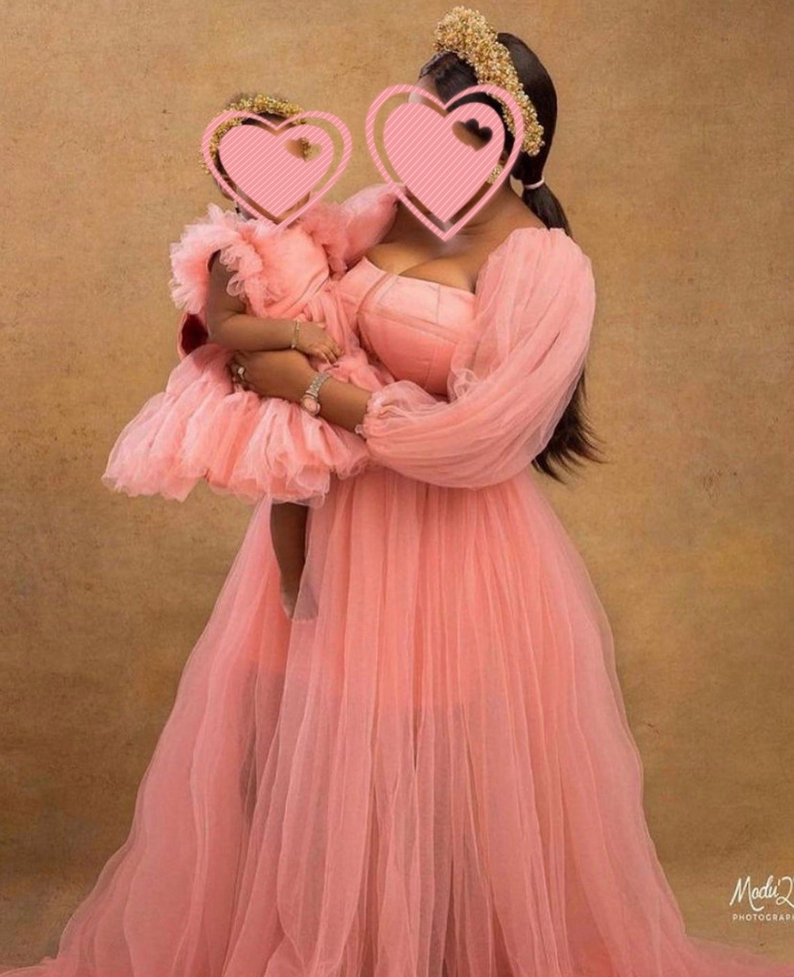 New Mother And Kids Tulle Dresses Long Sleeves A Line Extra Puffy Tulle Mom And Me Tutu Photo Shoot Dressing Gowns Custom Made enlarge