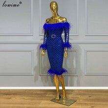 Royal bleu genou longueur robes de Cocktail sirène brillant femmes robes de bal 2020 turc Couture plumes robes de soirée robes