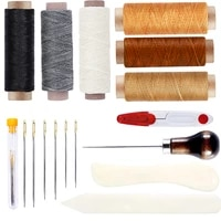 lmdz 6 color waxed thread with 3 sizes large eye sewing needles scissor awl bone folder for leather sewing supplies and diy