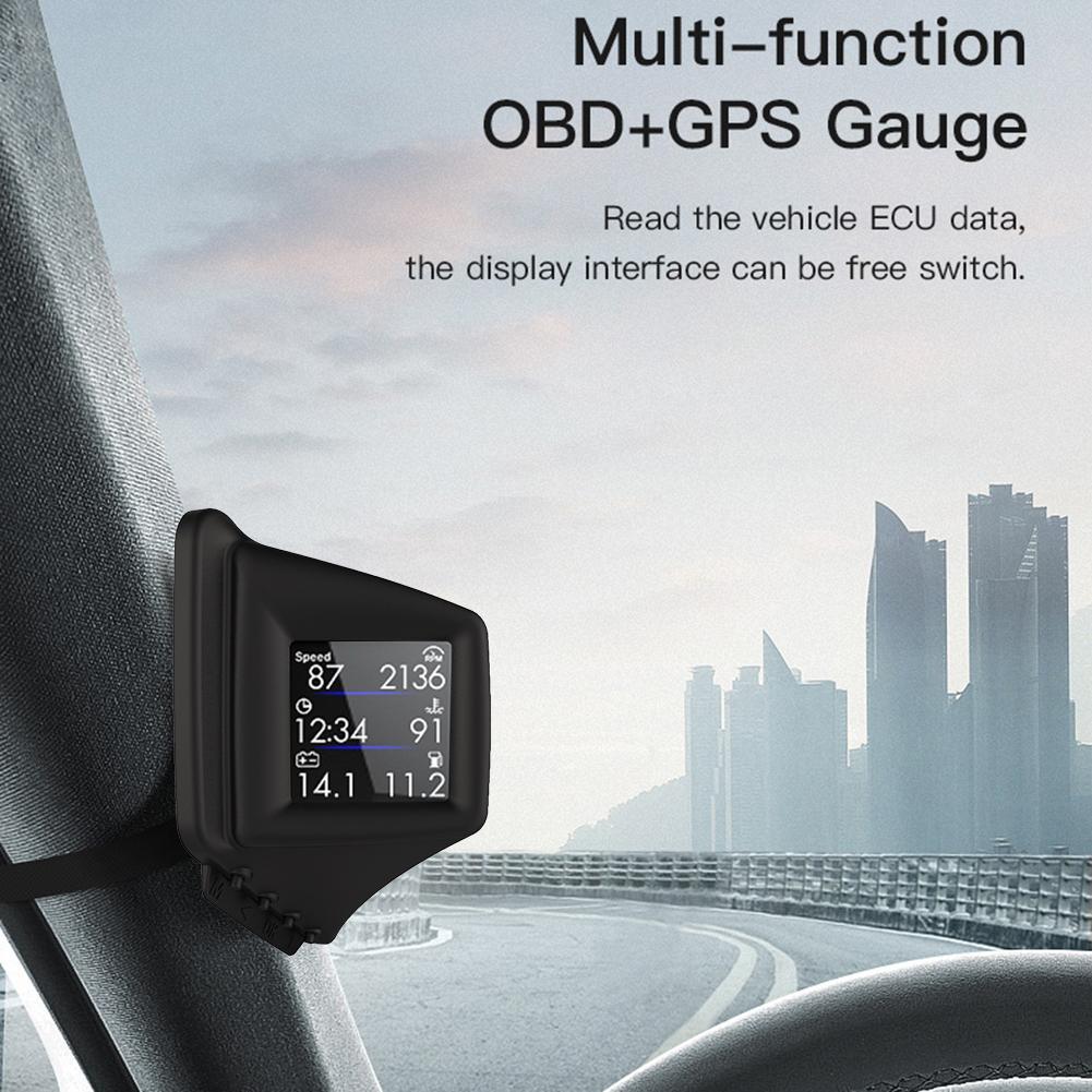 شاشة عرض أمامية للسيارة ، عداد سرعة رقمي مع نظام تحديد المواقع العالمي ، OBD ، عداد المسافات مع إنذار السرعة الزائدة للسيارة ، الحافلة ، الشاحن...
