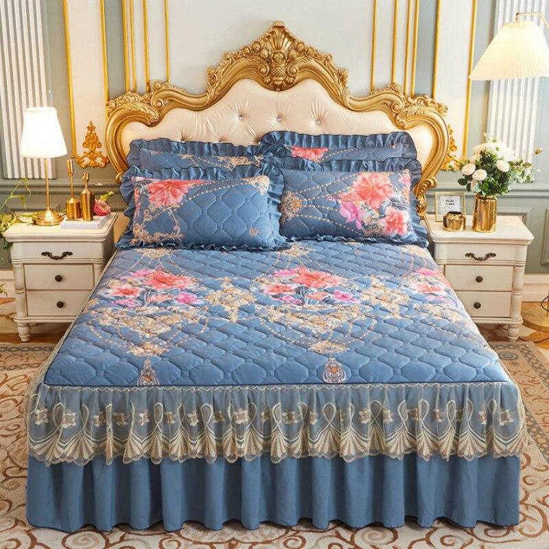غطاء سرير الخريف الشتاء العلوي الدانتيل تنورة نوم النمط الصيني الملك/الملكة طقم سرير النسيج الكلاسيكية مع 2 قطعة سادات J8003