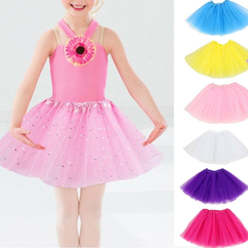 6pcs Kids Girls Tutu Skirts Star Printed Children School Stage Ballet Dance Wear Birthday Princess P