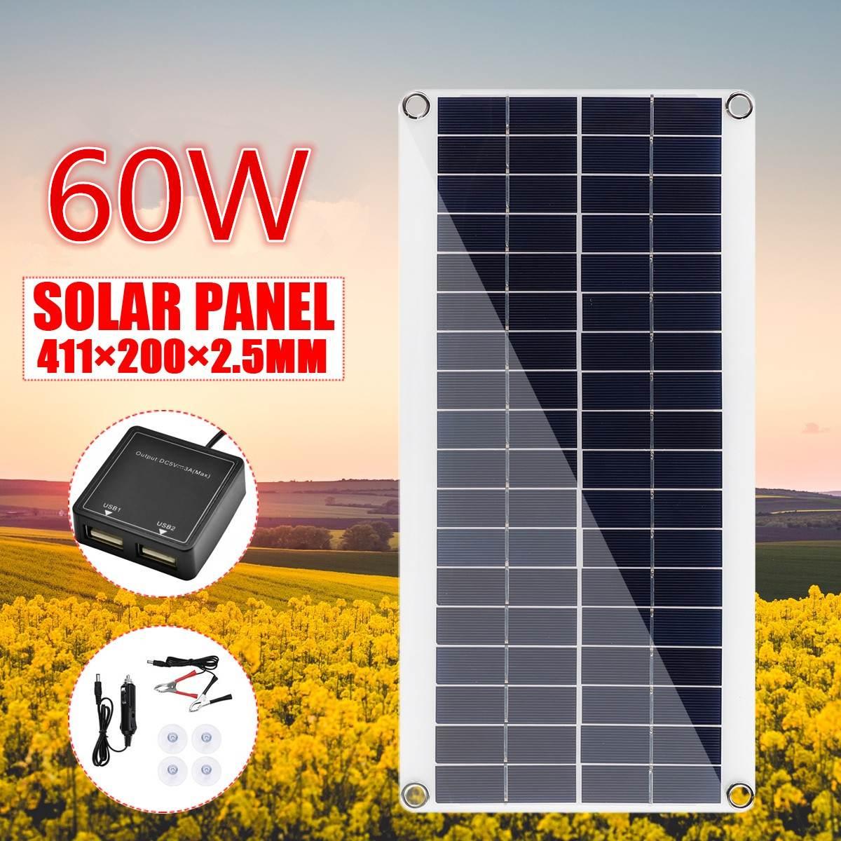 60W CC 18V Panel Solar portátil batería Cargador Solar para teléfono placa cocodrilo Clips cargador de coche para teléfono RV coche 411X200X2,5 MM