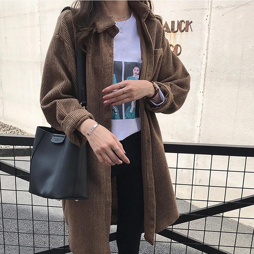 New Harajuku Corduroy Long Jackets Women Winter Autumn Coats Overcoats Female Big Tops Cute Jackets Solid Clothing Plus Size#3