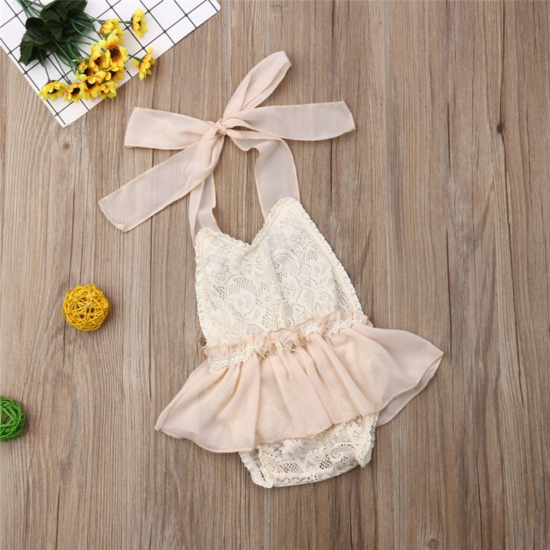 0-24M Neugeborenen Baby Mädchen Beige Spitze Floral Body Kleid Halter Romper Overall Outfits Kleidung Sommer Infant Baby kleidung