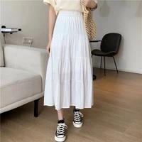 spring summer women chiffon skirts vintage high waist elastic patchwork white black chic long cake a line skirt for student