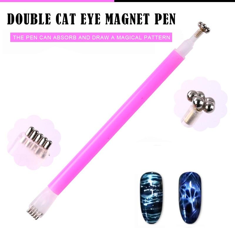 Herramienta DIY para manicura, esmalte de ojos de gato magnético 3D mágico, esmalte de Gel UV, estampado de ciruelas y ojos de gato, bolígrafo magnético con flores