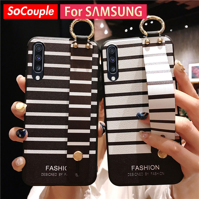 SoCouple Wrist Strap Phone Case For Samsung Galaxy S9 S8 S10 S20 Plus A70 A30 A50 A51 A10 A20 A7 2018 Note 8 9 10plus TPU Case